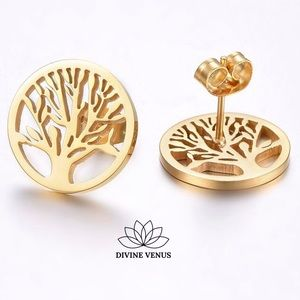 Tree of Life Earrings Gold Plated Stainless Steel